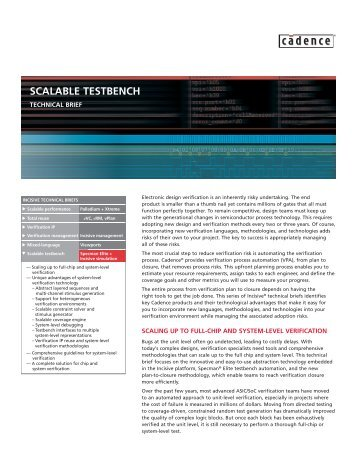 SCALABLE TESTBENCH - Cadence - Cadence Design Systems