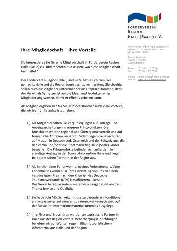 Vorteile der Mitgliedschaft im Förderverein - Förderverein Region ...