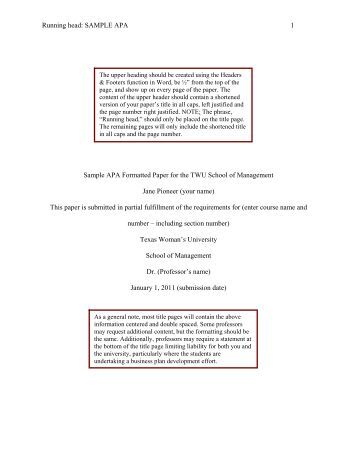 Running head: SAMPLE APA 1 Sample APA Formatted Paper for ...