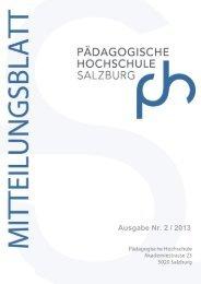 Mitteilungsblatt Nr.2 / 2013 - Pädagogische Hochschule Salzburg