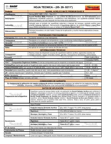 HOJA TECNICA – (05- 26- 0211*) - Suvinil