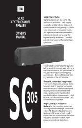 SC305 CENTER CHANNEL SPEAKER OWNER'S MANUAL - JBL.com