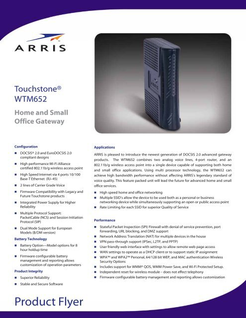 WTM652A/B/G - Wireless Home and Small Office Gateway - Arris