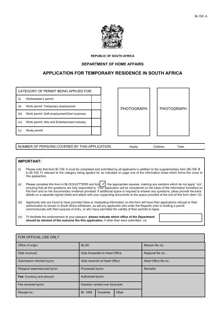 Application For Temporary Residence In South Africa