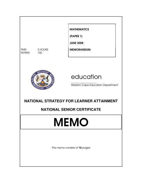 Grade 12 Mathematics P1 September 2016 Memo - Tips and