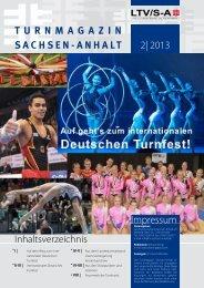 Inhaltsverzeichnis 2| 2013 TurnMagazin SachSen-anhalT Impressum