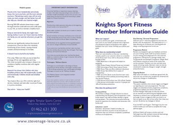 Knights Sport Fitness Member Information Guide - Stevenage Leisure