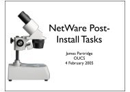 NetWare Post- Install Tasks - IT Services