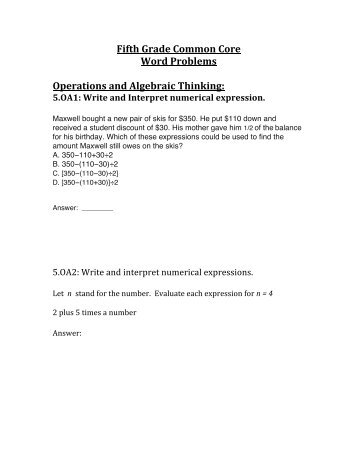 5th grade common core math word problems
