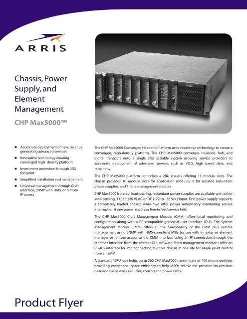 """CHP Max5000â""""¢ Chassis, Power Supply, and Element     - Arris"""