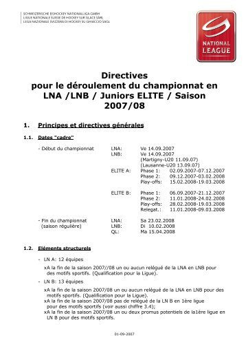 1.1 Directives pour les championnats - Swiss Ice Hockey