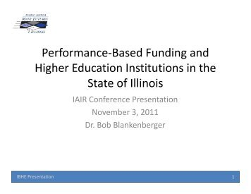 Performance based funding in higher education