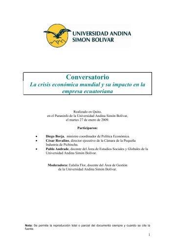 conversatorio sobre la criss econmica mundial y su impacto en la ...