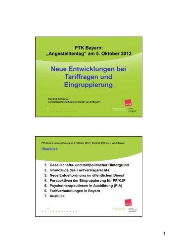 """Vortrag """"Neue Entwicklungen bei Tariffragen und ... - PTK Bayern"""