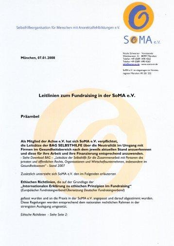 Leitlinien zum Fundraising in der SoMA e.V.