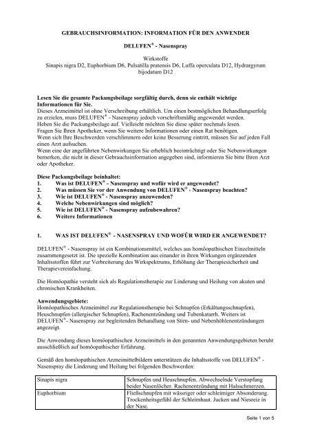 INFORMATION FÜR DEN ANWENDER DELUFEN® - Nasenspray ...