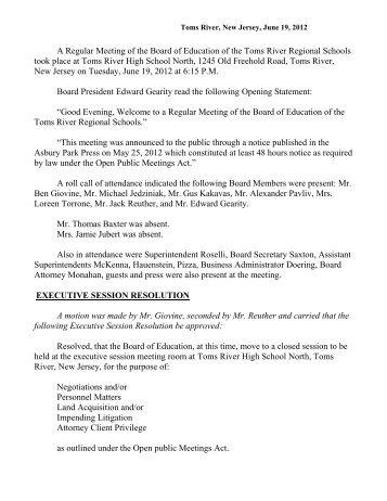 Minutes - Toms River Regional Schools