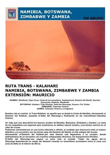 RUTA TRANS - KALAHARI NAMIBIA, BOTSWANA ... - Viajes Tarannà