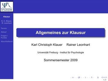 Klausurvorbereitung - Institut für Psychologie
