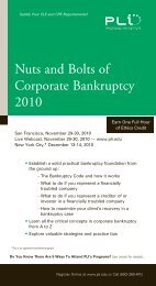 Nuts and Bolts of Corporate Bankruptcy 2010 - Reed Smith