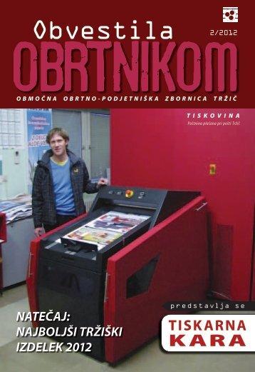 Obvestila februar 2012 - Območna obrtno-podjetniška zbornica Tržič