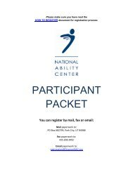 PARTICIPANT PACKET - National Ability Center