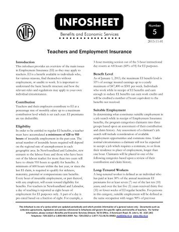 Infosheet No. 5 from the NL Teachers - Newfoundland and Labrador ...