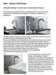 Oblo – Wasser trifft Design Aktuelles Design in einer klar ... - Kohler