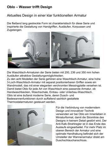 Oblo U2013 Wasser Trifft Design Aktuelles Design In Einer Klar ...   Kohler
