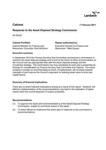 Asset Disposal Strategy Scrutiny Commission ... - Lambeth Council