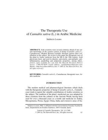 The Therapeutic Use of Cannabis sativa (L.) in Arabic Medicine