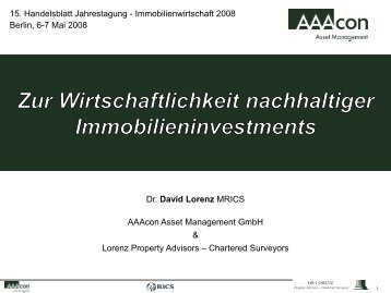 Berlin, 6-7 Mai 2008 - Dr. Lorenz Property Advisors