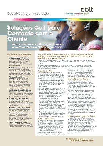 Soluções Colt para Contacto com o Cliente