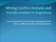 Mining Conflict Analysis and Transformation in Argentina - Woodrow ...