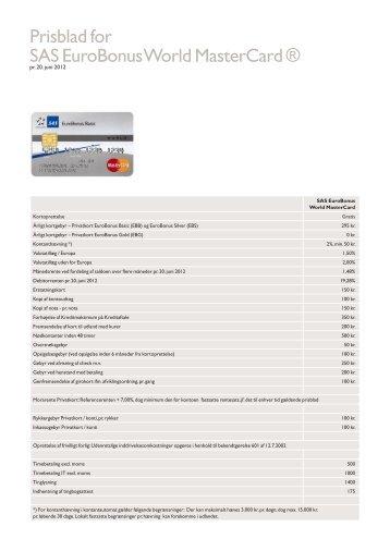 Prisblad for SAS EuroBonus World MasterCard ®
