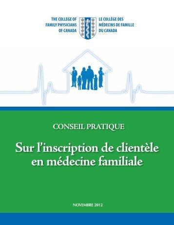 Sur l'inscription de clientèle en médecine familiale - The College of ...