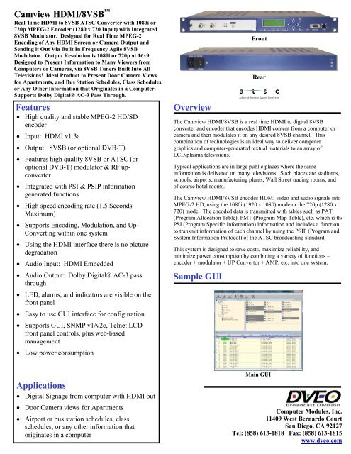 Camview HDMI/8VSB -- HDMI to 8VSB Encoder - Dveo com