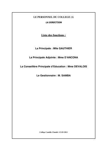 Liste des fonctions : - Collège CAMILLE CLAUDEL