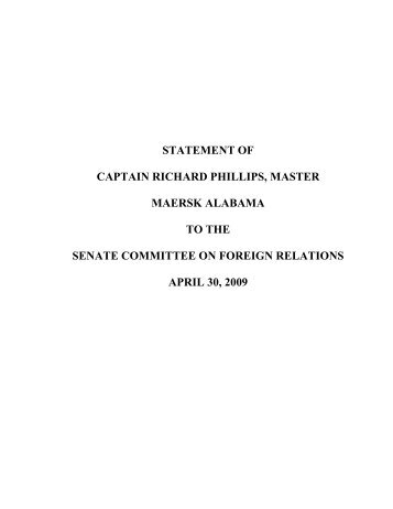STATEMENT OF - Maritime Administration