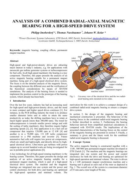 analysis of a combined radial-axial magnetic bearing for a high