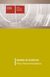 SERBS IN KOSOVO Policy Recommendations - CIG - Council for ...
