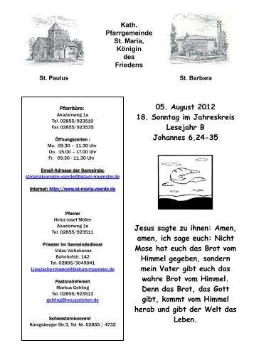 05.08.2012 - 18. Sonntag im Jahreskreis - Die Pfarrei St.Maria ...