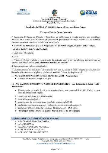 Classificados Edital 2 Padre Bernardo - Sectec