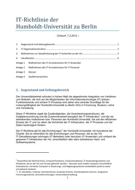 IT-Richtlinie der HU - Medienkommission - Humboldt-Universität zu ...