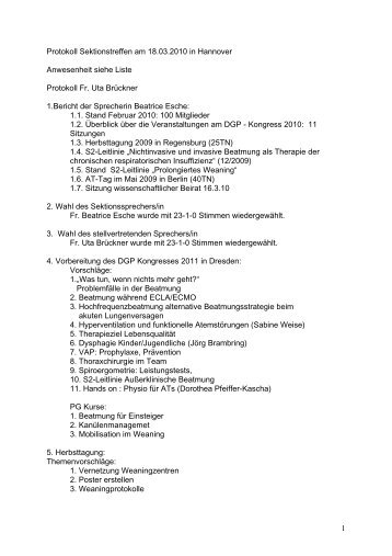 Protokoll Sektionstreffen am 18.03.2010 in Hannover