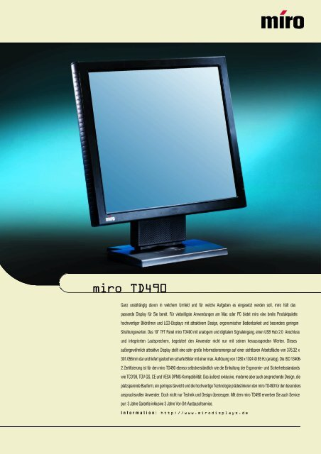 Datenblatt mirotd490 - miro Displays Gmbh