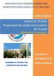 Ghid de studii - IM - Universitatea Româno-Americană