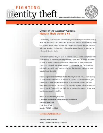 Identity Theft Victim's Kit - Texas Attorney General
