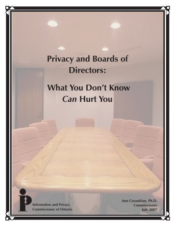 Privacy and Boards of Directors: What You Don't Know Can Hurt You
