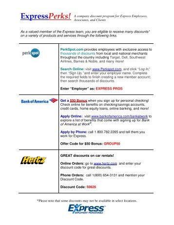 ExpressPerks! A company discount program for Express Employees ...